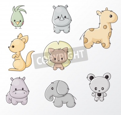 Serie Di Cartoni Animati Colorati Animali Selvatici Carta Da Parati