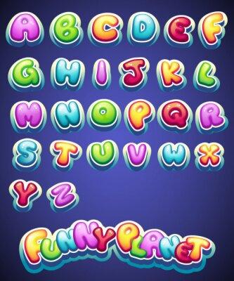 Carta da parati Serie di cartoni animati colorati lettere per la decorazione di nomi diversi