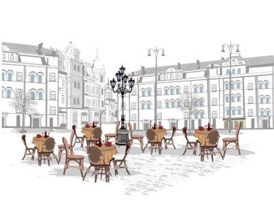 Carta da parati Serie di sfondi decorati con vista storico e caffè all'aperto. Disegnati a mano illustrazione vettoriale.