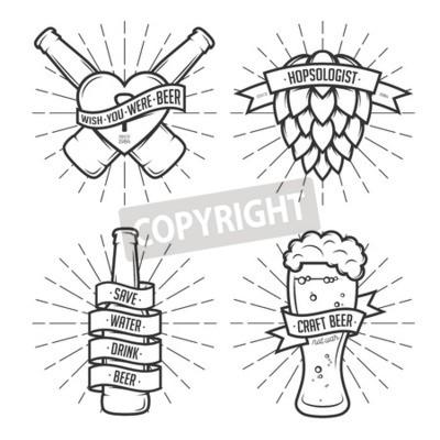 Carta da parati Serie di stampe di birra t-shirt. etichette di birra, distintivi, elementi di design. Nastri d'epoca con citazioni divertenti. Frasi sulla birra.
