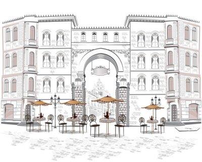 Carta da parati Serie di vista sulla strada con i caffè della città vecchia