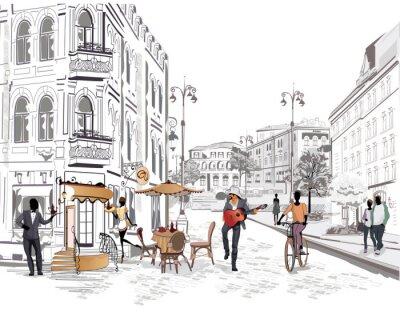 Carta da parati Serie di vista sulla strada con le persone nella città vecchia