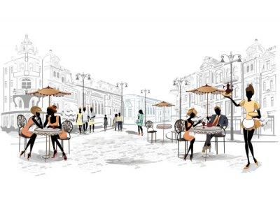 Carta da parati Serie di vista sulla strada nella città vecchia con i caffè