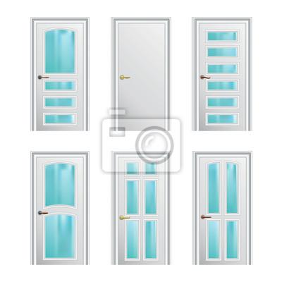 Carta da parati: Set di 6 bianche dipinte porte con inserti in vetro. eps10