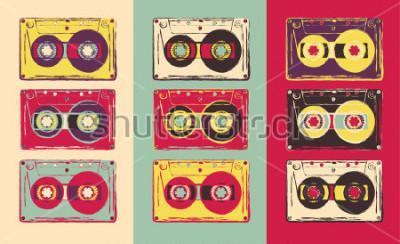 Carta da parati Set di cassette audio retrò, in stile pop art. Immagine vettoriale