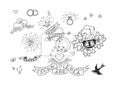19f74f0016 Carta da parati: Set di elementi tradizionali del tatuaggio disegnati a  mano.