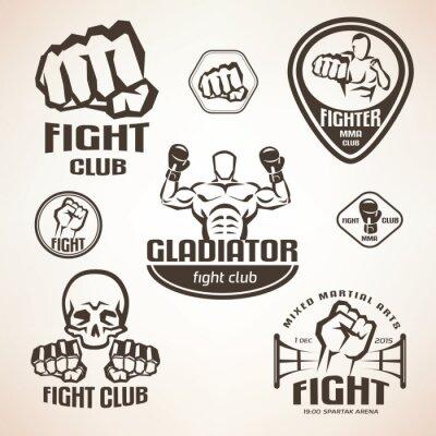 Carta da parati Set di emblemi combattimenti club, MMA, etichette boxe e bages