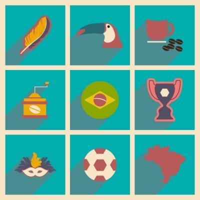 Carta da parati Set di icone piane con una lunga ombra Brasile