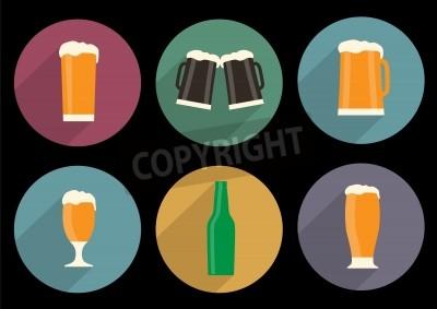 Carta da parati set di piatti icone di birra con lunga ombra