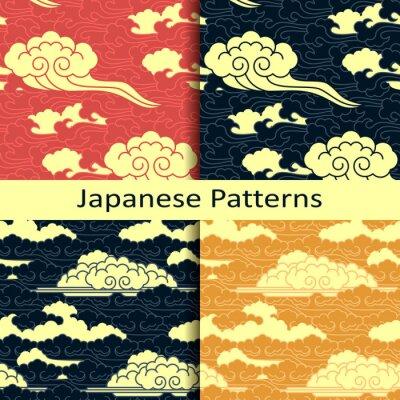 Carta da parati Set di quattro reticoli nuvoloso tradizionali giapponesi