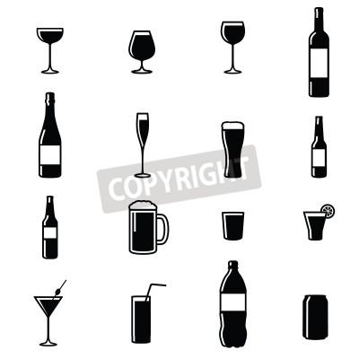 Carta da parati Set di sedici bevande nero Sagoma illustrazioni vettoriali