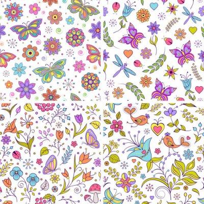 Carta da parati Set di sfondi floreali.