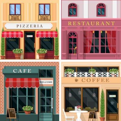 Carta da parati Set di vettoriale dettagliata ristoranti di design piatto e le icone caffè facciata. Raffreddare graphic design esterno per attività di ristorazione.