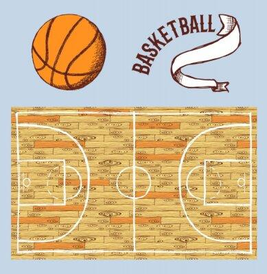 Carta da parati set pallacanestro Sketch con tennis e palla