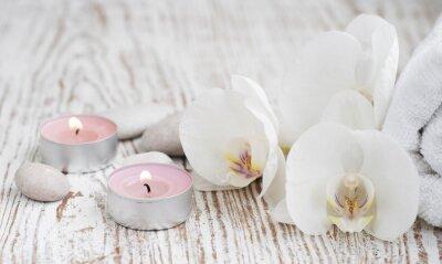 Carta da parati Set Spa con orchidee bianche
