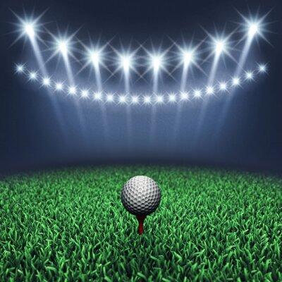 Carta da parati Sfera di golf su erba e faretti, Torneo di golf, campo da golf