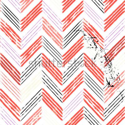 Carta da parati sfondo astratto, con tratti e schizzi, seamless pattern a zig-zag