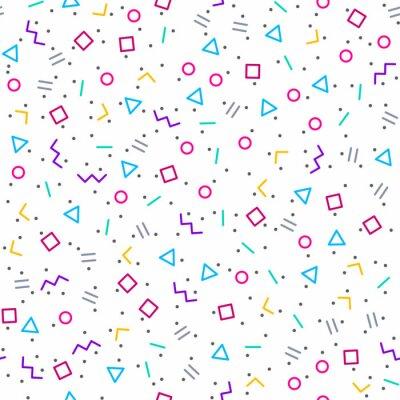 Carta da parati Sfondo astratto geometrica, stile Memphis, colori al neon luminosi, senza soluzione di continuità vettore modello
