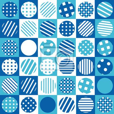 Sfondo Blu Geometrico Con Piazze E Cerchi Fantasia Carta Da Parati