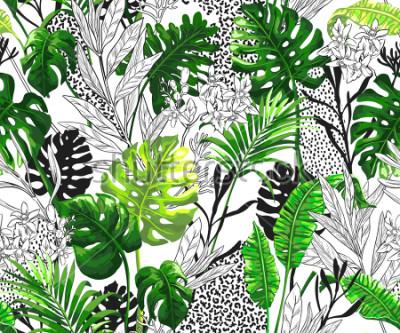 Carta da parati Sfondo botanico con foglie di palma tropicale. Modello di vettore senza soluzione di continuità in stile alla moda hawaiano.