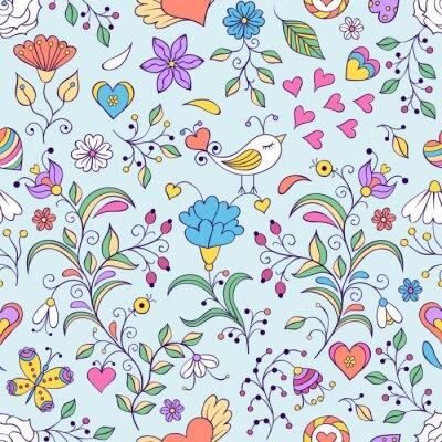 Carta da parati sfondo floreale con uccelli e fiori