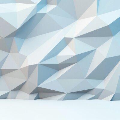 Carta da parati Sfondo grigio astratto con motivo poligonale. Immagine 3D