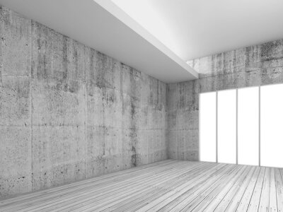 Carta da parati sfondo interni bianco con pavimento in legno, 3d