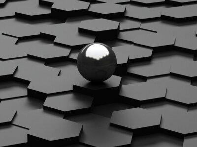 Carta da parati Sfondo nero di 3d esagoni e sfera in acciaio