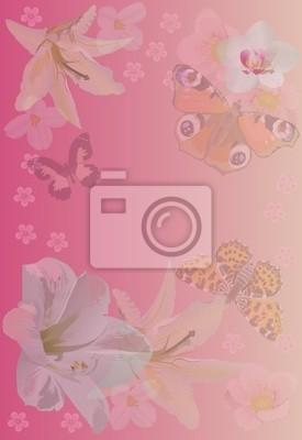 Sfondo Rosa Con Farfalle E Fiori Carta Da Parati Carte Da Parati