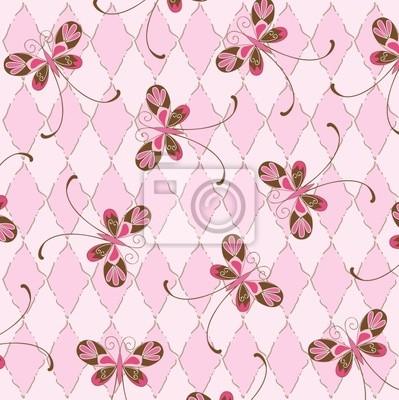 Sfondo Rosa Vettore Con Farfalle Carta Da Parati Carte Da Parati