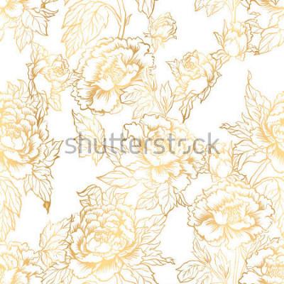 Carta da parati Sfondo senza soluzione di continuità con i fiori di peonia. L'illustrazione di vettore imita la pittura tradizionale dell'inchiostro cinese. Motivo floreale disegnato a mano grafica. Design te