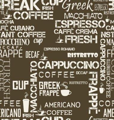 Carta da parati Sfondo senza soluzione di continuità di parole e simboli di caffè