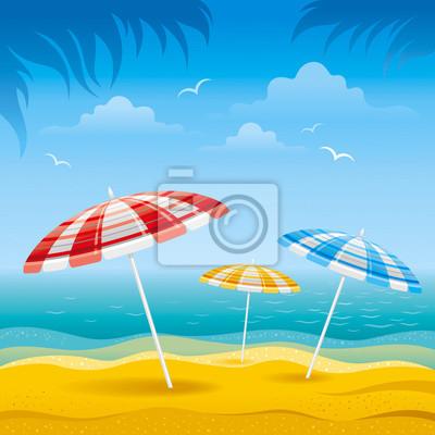 Ombrelloni Per La Spiaggia.Carta Da Parati Sfondo Spiaggia Con Il Mare Blu E Spogliato Ombrelloni Da Spiaggia