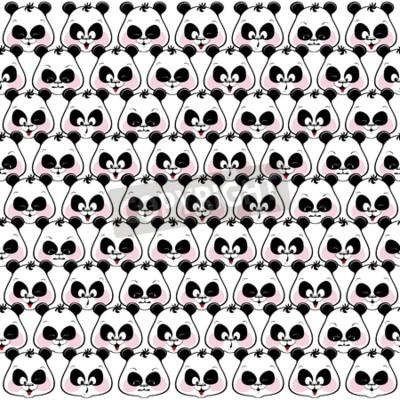 Carta da parati Sfondo trasparente colorato di museruola divertenti panda. illustratio