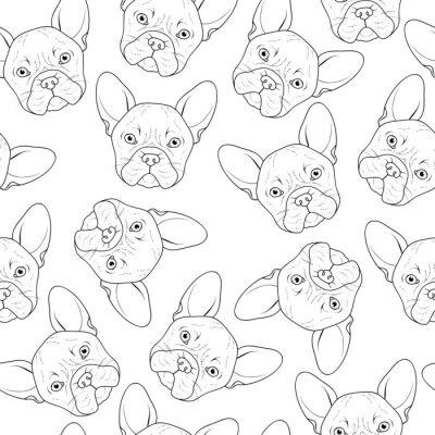 Carta da parati Sfondo trasparente con cute abbozzo bulldog. a mano cane realistico. Colorare in bianco e nero con bulldog. Stampa per la stampa su tessuto. Razza cani. Sfondo trasparente con cane per materiali stamp