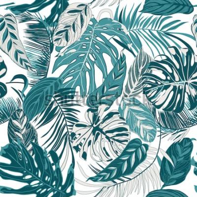 Carta da parati sfondo trasparente con foglie tropicali