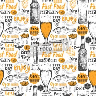 Carta da parati Sfondo trasparente con set di birra. menù Pub. Bottiglia e un bicchiere di birra in stile schizzo. illustrazione vettoriale con etichette di birra.