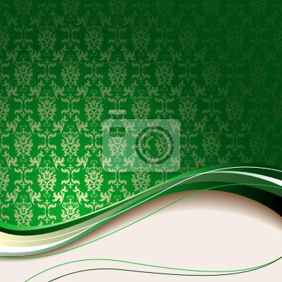 Sfondo Verde Con Fiori E Foglie E Onda Beige Carta Da Parati