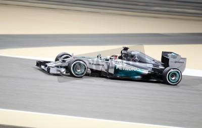 Carta da parati Shakir, BAHRAIN - 04 aprile: Lewis Hamilton della Mercedes corse durante la sessione di prove libere il Venerdì, 4 aprile 2014, la Formula 1 Gulf Air Bahrain Grand Prix 2014