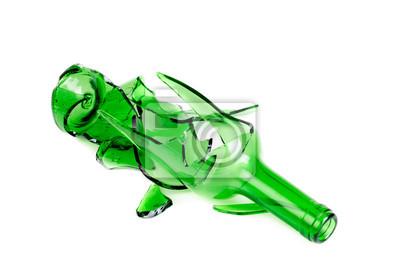 Shattered Bottiglia Di Vino Verde Isolato Su Sfondo Bianco Carta Da