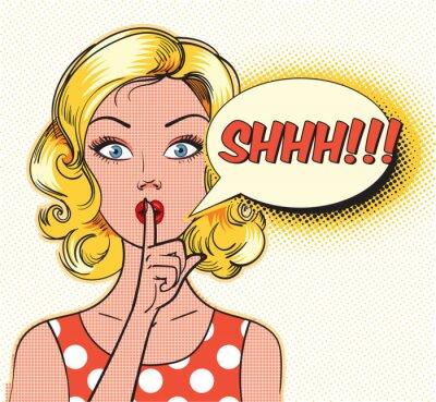 Carta da parati Shhh bolla. Pin sulla donna che mette l'indice alle labbra per il silenzio tranquillo. Pop art in stile fumetto. illustrazione di vettore