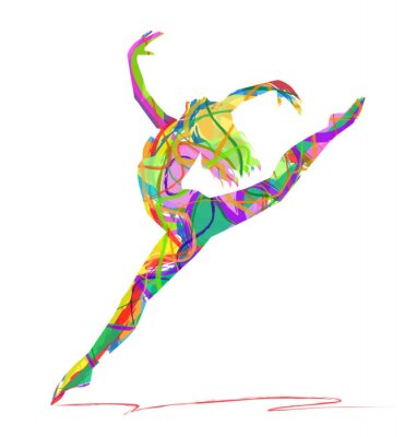 Carta da parati silhouette di ballerina Composta da colori