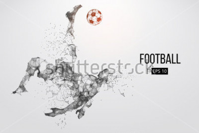 Carta da parati Silhouette of a football player. Dots, lines, triangles, text, color effects and background on a separate layers, color can be changed in one click. Vector illustration