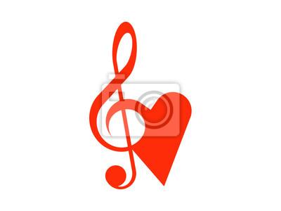 Simboli Combinati Della Chiave Di Violino E Il Cuore Carta Da Parati