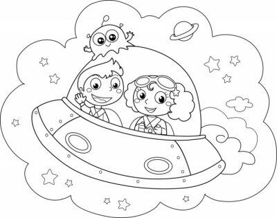 Carta da parati Simpatica navetta spaziale pilotata da bambini