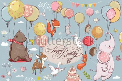 Carta da parati simpatici animali che volano con palloncini