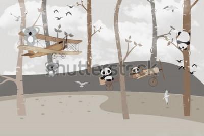 Carta da parati Simpatici koala e panda che giocano nella giungla