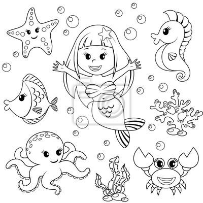 Sirena E Mare Animali Pesci Stelle Marine Polpi Cavallucci Carta