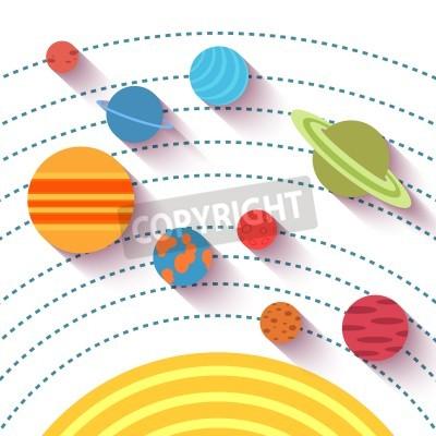 Carta da parati sistema e lo spazio oggetti solari. Vector set in stile piatto.