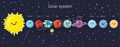 Carta da parati Sistema solare con sorridente sveglio pianeti, il sole e la luna. illustrazione di vettore